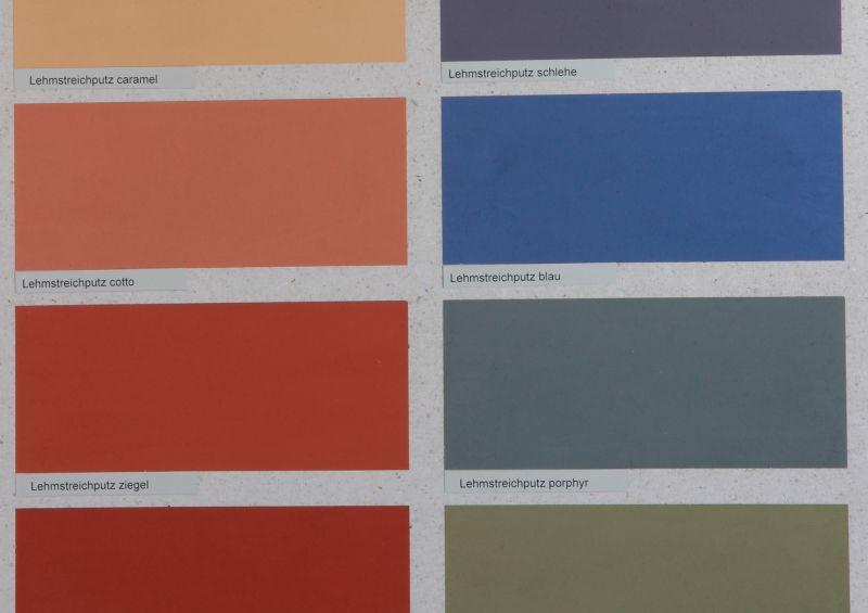 Die Lehmstreichputze lassen sich streichen, haben eine Lehmoptik und sind in vielen Farben erhältlich